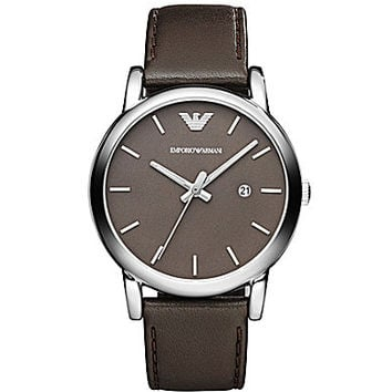Emporio Armani Men's Classic Brown Leather Strap Watch - Grey