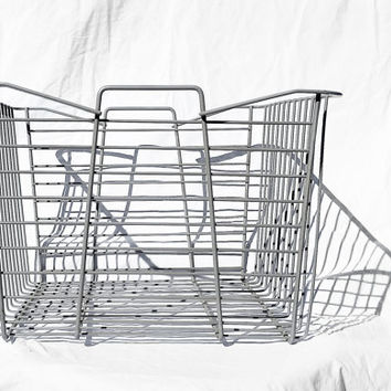 Vintage Wire Basket with Handles, Retro Design; Industrial Storage