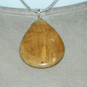 80ct. Tan Stone, Semi Precious, Agate, Pendant, Necklace, Teardrop, Natural Stone, 109-15