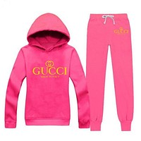ONETOW GUCCI  Casual Print Hoodie Top Sweater Pants Trousers Set Two-piece Sportswear     woman