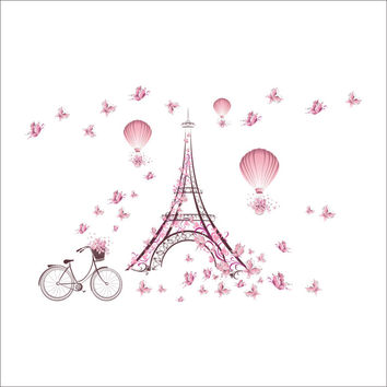 Romantic Eiffel Tower Love Couple Wall Stickers Decals Living Room Decoration Bicycle Flower Hot Air Balloon Wedding Decoration SM6