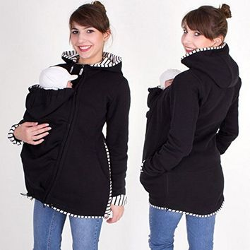Maternity Hoodies Hooded Coat Winter Autumn Kangaroo Carrier For Maternity Pregnant Clothes Baby Carrier Jacket S-2XL