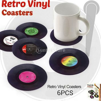 Vinyl Mat  63D Vintage CD Record Cup Drinks Coasters Coffee Placemat