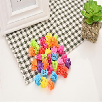 Fashion Hair Bow Mini Claw Flower 50pcs Solid Candy Clip BB Hairpin Cute Resin Barrette Plum Claws Gift Jewelry Hair Accessories