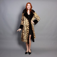 60s Velvety LEOPARD COAT / Soft Faux Fur Belted Glam Coat, xs-m