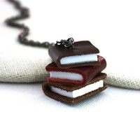 Book Necklace : Book Jewelry / Stack of Leather Books Necklace Stack of Library Books Necklace Brown Burgundy Leather Jewelry