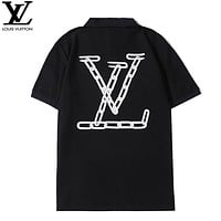 LV New fashion letter print lapel couple top t-shirt Black