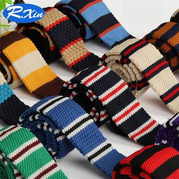 New 2016 Fashion 5cm Male Stripe joint Brand Slim Designer Knitted Neck Ties Cravate Narrow Skinny Neckties Ties For Men