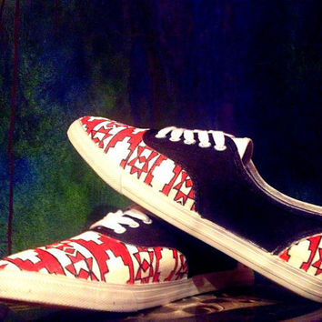 Strength - Hand Painted Native Print Tennis Shoes