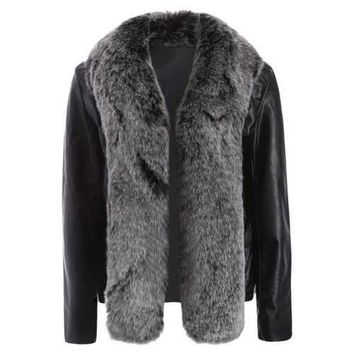 Open Front Faux Leather Jacket with Fur Collar - Black M