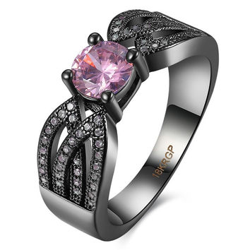 Fine Jewelry High Quality Rings Purple Amethyst AAA Zircon 14KT Black Gold Filled Ring For Women Lady's Engagement Rings