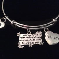 Grandma I Love you to the Moon and Back Silver Expandable Charm Bracelet Adjustable Wire Bangle Gift