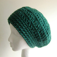 Womens Hat - Fall Accessories - Hunter Green Hat - Slouchy Beanie Hat - Hand Crocheted Hat - Slouch Hat
