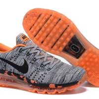 """Nike Air Max Flyknit"" Unisex Sport Casual Leopard Weave Air Cushion Sneakers Couple Running Shoes"