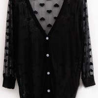 Paneled Semi Sheer Long Sleeve Cardigan - OASAP.com