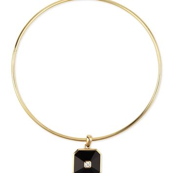 18K Gold Pyramid Onyx & Diamond Pendant Collar Necklace