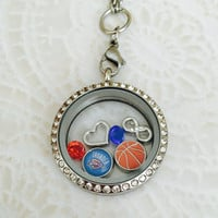 Oklahoma City Thunder inspired Large stainless steel memory locket with choice of stainless steel chain