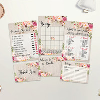 Bridal Shower Games Printable Floral Bridal Shower Games Bundle Boho Bridal Shower Games Pack Bohemian Bridal Party Games Set Digital File