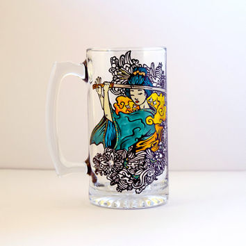 Asian, Beer Glass, Beer Mug, Beer Stein, Japanese, Samurai, Hand Painted, Ninja, Geisha, Collectible, Art, Culture, Gifts for Him