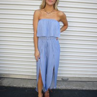 Blue Pin Stripe Jumpsuit - These Three Boutique