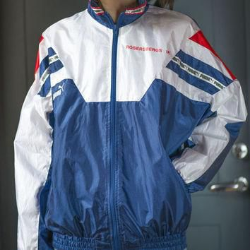 PUMA Light Running Track Jacket ¨C Red Navy White 90's Windbreaker - Nylon Coat Fitness