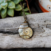 Ammonite Necklace - Fossil Jewelry - Fossilized Stone - Boho Chic - Bohemian Jewelry - Ammonite Jewelry - Hippie Necklace - Wiccan Necklace