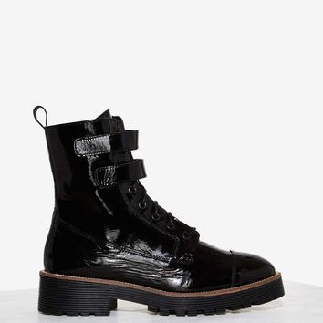 Shellys London Tyra Patent Leather Combat Boot