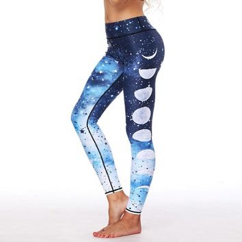 Women Thick Pants Fashion Moon Rainbow Peacock 3 Styles Printed Sporting Legging