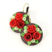 "Floral Earrings ""Christmas"" Red Green Earrings Christmas Gift for Her Floral Jewelry Floral Earrings Small Earrings with Roses Polymer Clay"