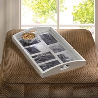 Photo Frame Serving Tray-White Wood Glass Top