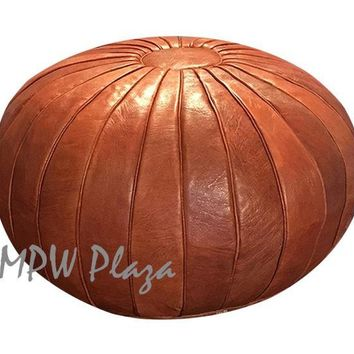 Deco Pouf Rustic Brown Moroccan Leather