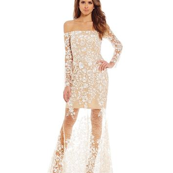 Gianni Bini Callie Off-the-Shoulder Long Sleeve Embroidered Gown | Dillards