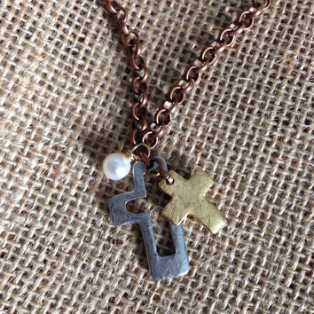 Cross Charm Necklace, Cut Out Cross, Two Tone, Gold and Silver Tone, Pearl, Rollo Chain