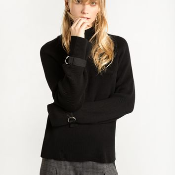 Black Buckle Sleeve Cuff Sweater