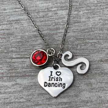 Personalized Irish Dance Necklace with Birthstone & Letter Charms