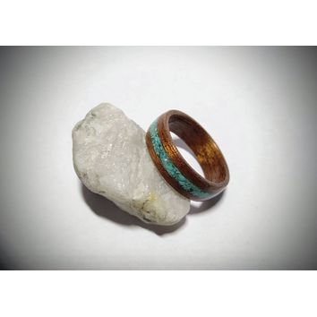 Mahogany and Turquoise bent wood ring