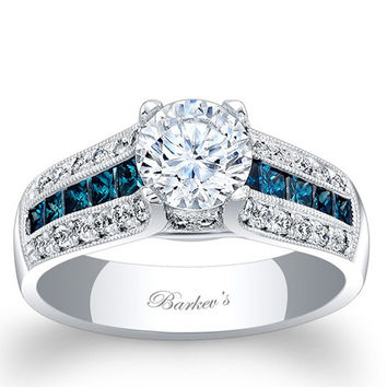 Barkev's Blue & White Diamond Vintage Three Row Diamond Engagement Ring