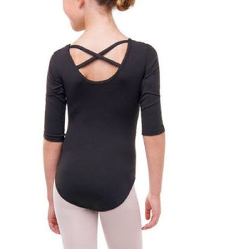 Danskin Now 3/4 Sleeve Nylon Dance Leotard, Medium 7-8, Black