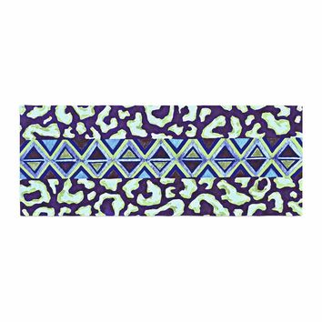 "Ebi Emporium ""The Tribal Leopard - Blue"" Blue Green Painting Bed Runner"