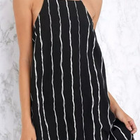 Black Strappy Striped Mini Dress