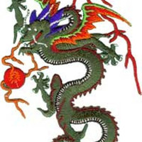 Dragon Iron-On Patch Green