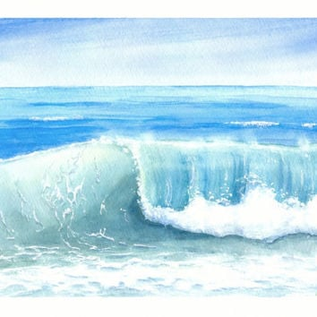 "Original Watercolor Seascape, Ocean Wave Watercolor, Rolling Waves Painting, Breaking Wave Art, Beach Home Decor, Original Watercolor 8""X10"""