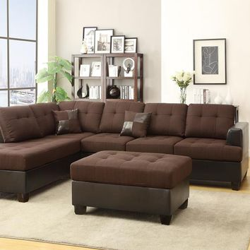 Blended Linen 3 Pieces Sectional Sofa Chocolate Brown