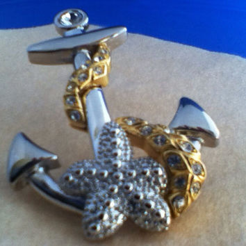 Kenneth Jay Lane Brooch Signed Authentic Large Anchor Pendant Vintage 1980s Two Tone CZs  Nautical Starfish Dimensional Genuine OTT