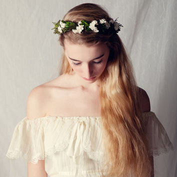 Leafy woodland crown, Natural boho bridal hair wreath, Bridal headpiece, Wedding crown, Flower head piece - OPHELIA