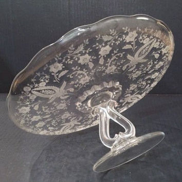 New Martinsville Glass Princess Prelude Etched Glass Cake Stand, Viking Prelude Glass Pedestal Cake Stand, Cake Stand Scalloped Rim
