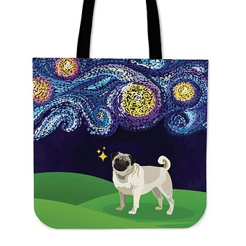 Starry Night Pug Linen Tote Bag - Promo
