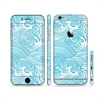 The Abstract Blue & White Waves Sectioned Skin Series for the Apple iPhone 6