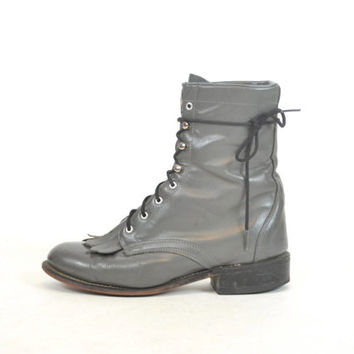 lace up LAREDO distressed gray leather COMBAT roper granny ankle BOOTS, size 6.5 37
