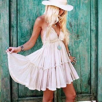 BOHO INSPIRED summer dress cotton lace pleated halter backless beach dresses V-neck sexy dress women bohemian vestidos 2017